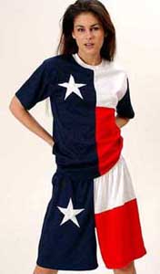 model wearing Texas flag t'shirt and shorts